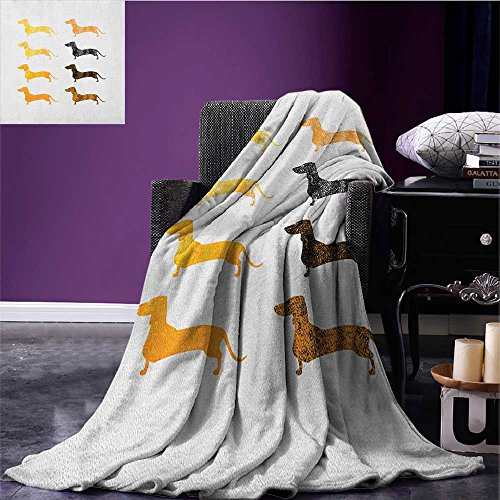 - Dachshund park blanket Vintage Dog Silhouettes with a Grunge Theme Domestic Pets Pattern soft blanket Marigold Black Orange size:59
