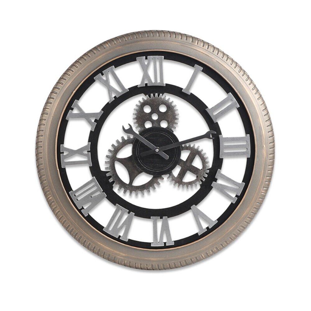 ローマ数字の時計 金属クリエイティブウォールクロック レトロ産業ギア鍛造鉄 (版 ばん : A) B07FC69LXTA