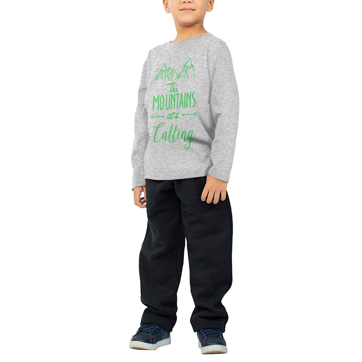 Mountains are Calling Childrens Gray Cotton Long Sleeve Round Neck T-Shirt for Boy Or Girl