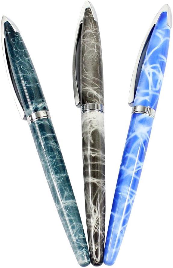 Ranvi JinHao 156 pluma estilográfica, punta media de 0,5 mm, 3 piezas, 3 colores (azul mármol, gris mármol, azul cielo de mármol)