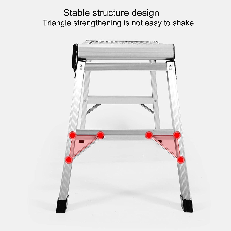 capacit/é de 149,7 kg l/éger et portable avec plateforme antid/érapante en caoutchouc stable design /épais durable facile /à ranger step stool Escabeau pliable en aluminium
