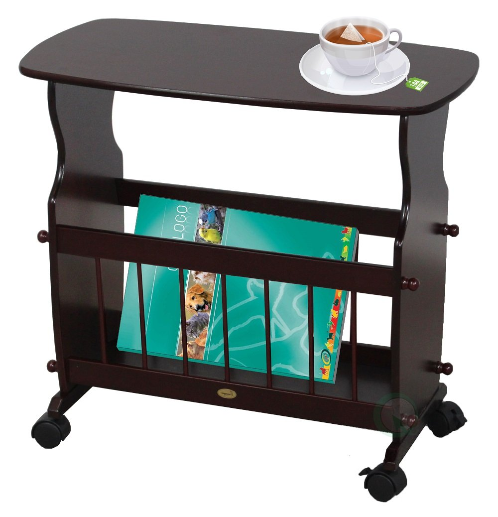 Uniquewise Wooden Magazine Rack Table with Rolling Casters, Cherry Quickway Imports QI003166