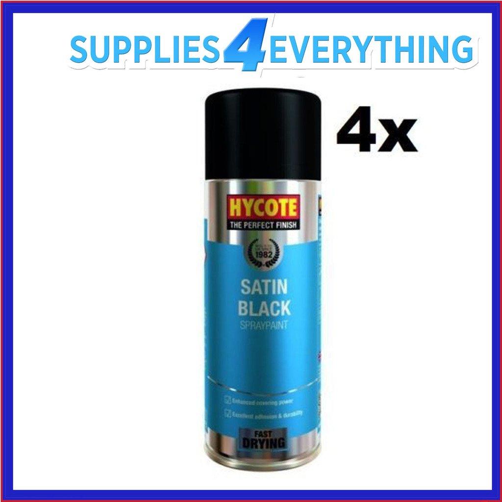 4 x Hycote Satin Black Car, Van, Bike Spray Paint / Aerosol 400ml SUPPLY4ALL