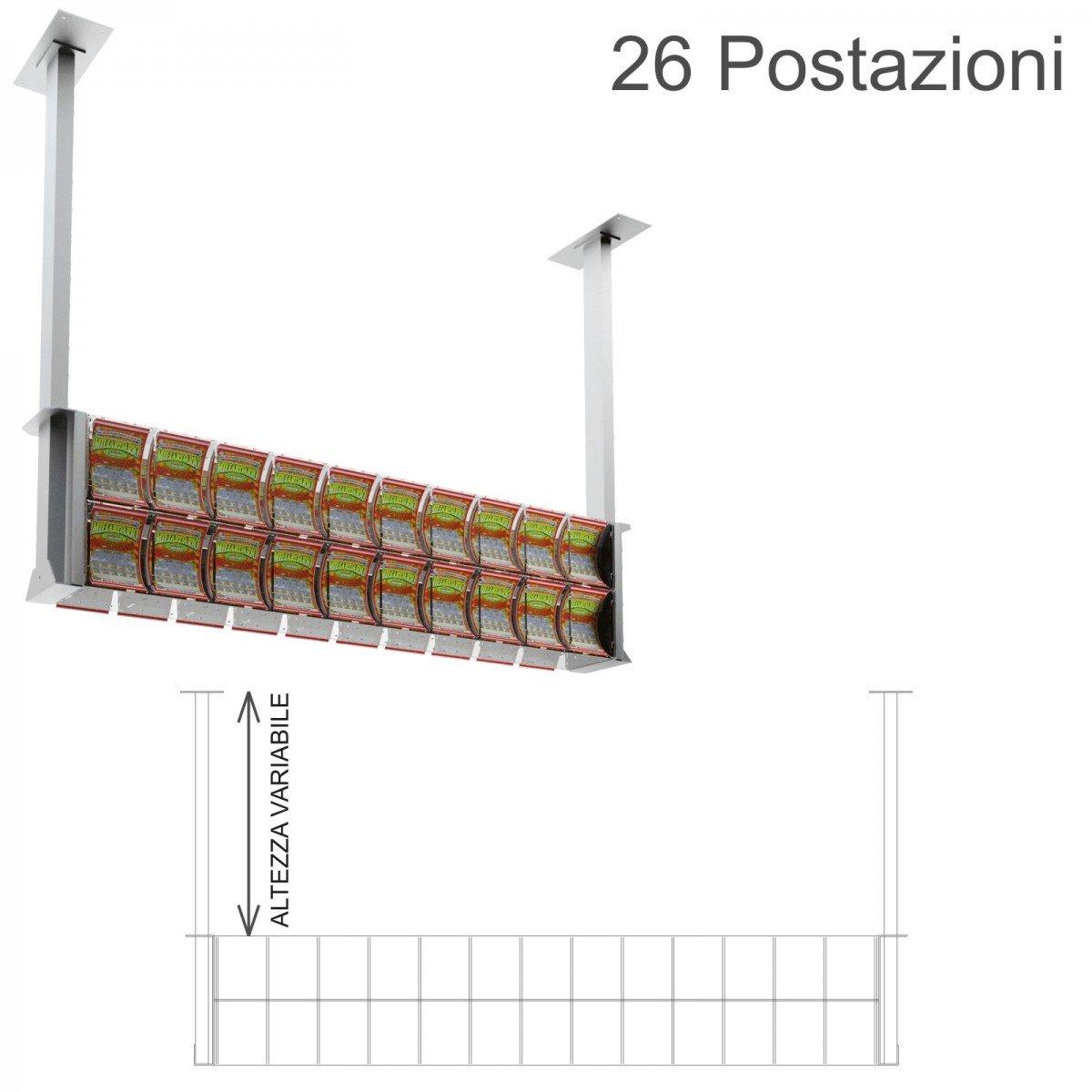 Espositore gratta e vinci da soffitto in plexiglass trasparente a 26 contenitori munito di sportellino frontale lato rivenditore