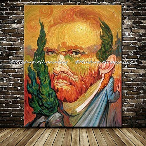 (LIEFENGDA Oil Painting On Canva,100% Hand Painted Famous Paintings Vincent Van Gogh Self-Portraits Oil Painting On Canvas Wall Art for Living Room Home Decor,80X120Cm)