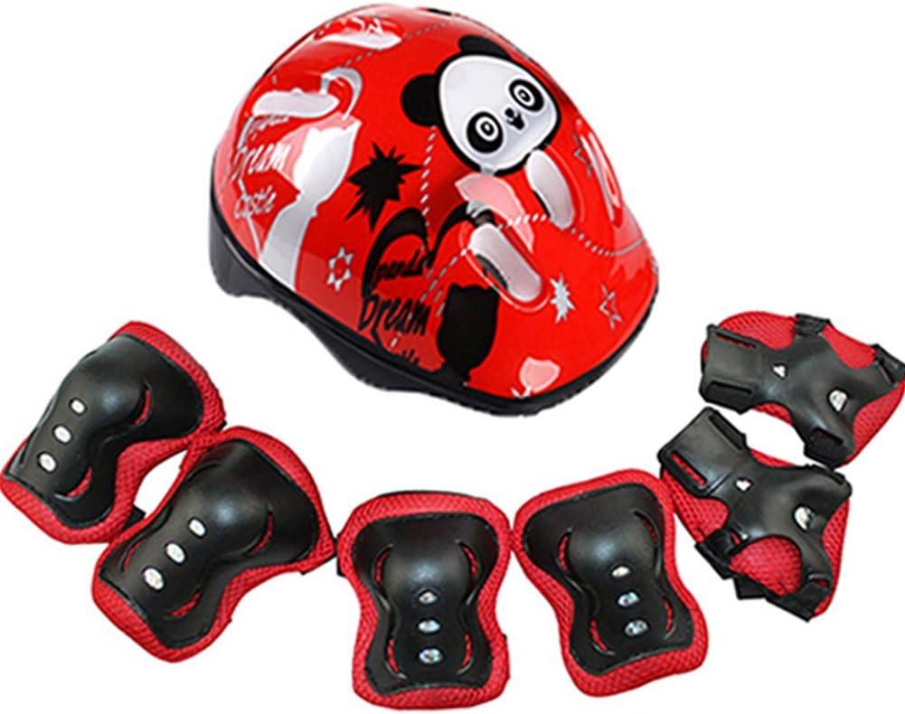 Taille unique Rouge Pas de z/éro Dengofng Ensemble casque de v/élo et coussinets r/églables pour enfant