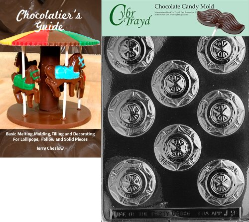 (Cybrtrayd Fireman's Badge Chocolate Candy Mold with Chocolatier's Guide Instructions Book Manual)