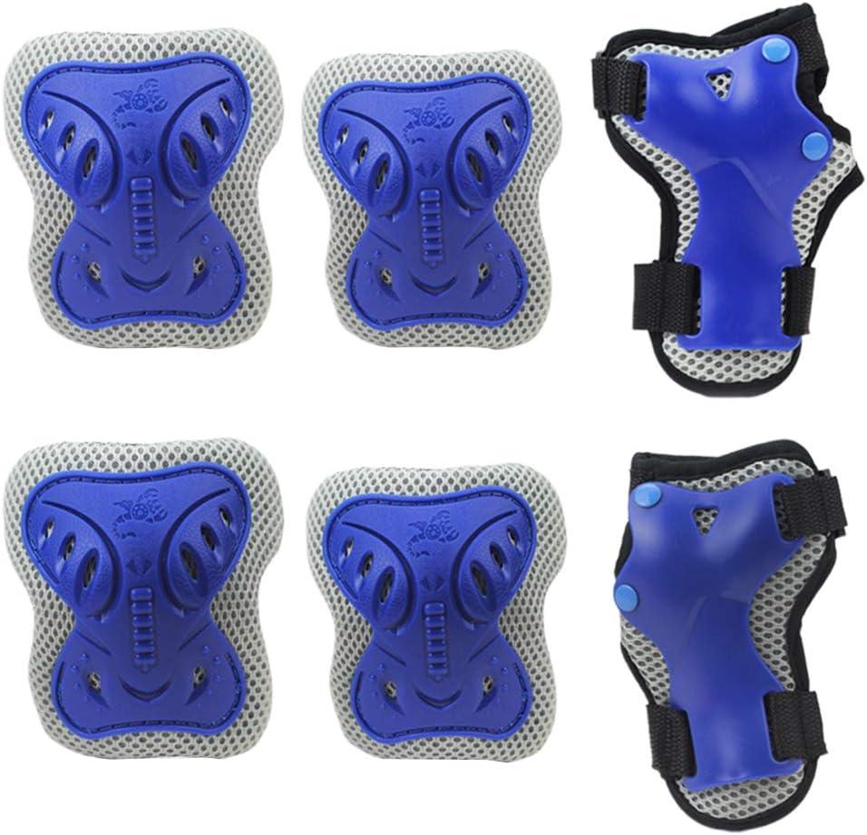 Cyclisme et Protection de s/écurit/é Multisport SADA72 Kit de Protection 6 en 1 pour Genoux et Coudes avec Protection au Poignet pour v/élo S Bleu