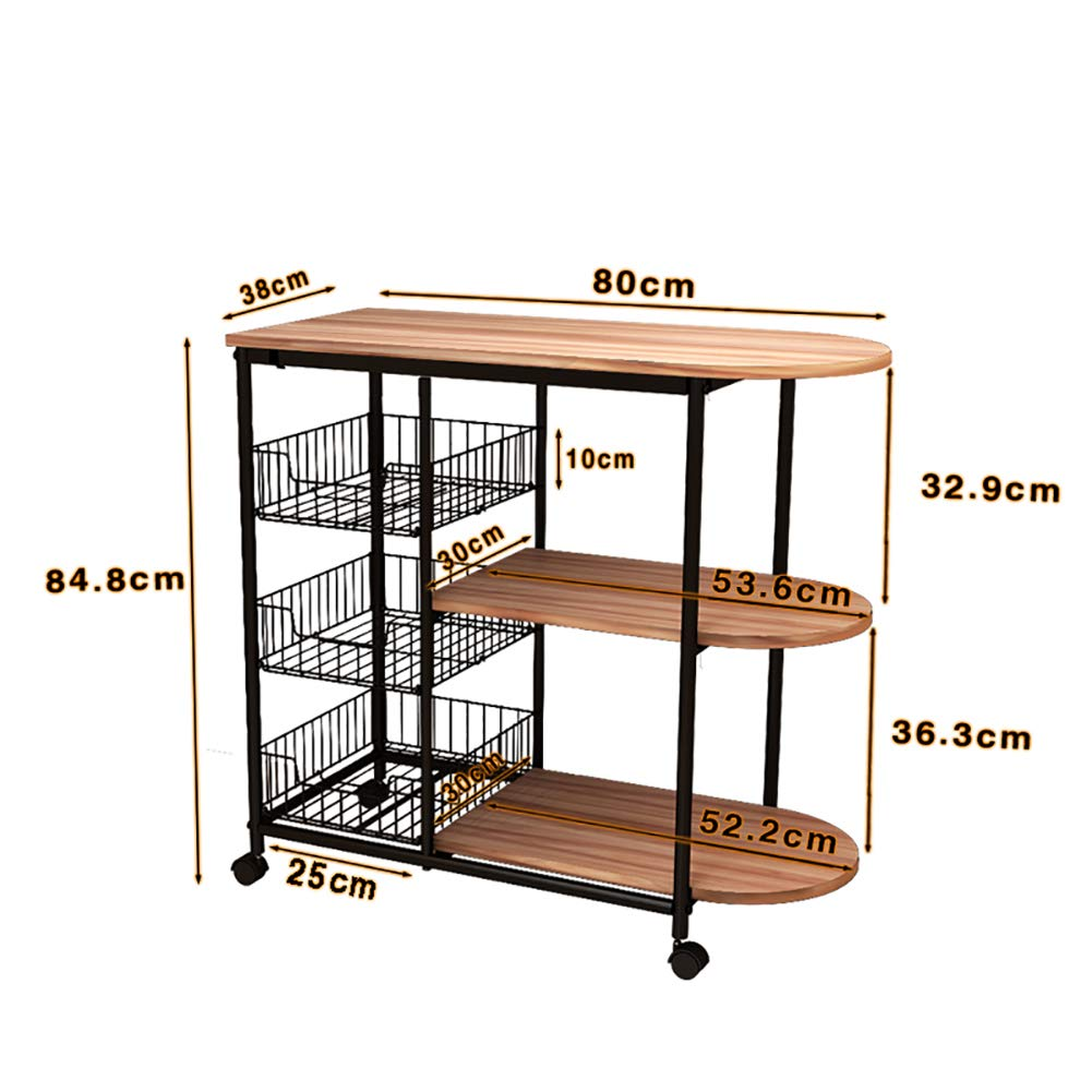 Kitchen Cart Kitchen Rack Microwave Oven Rack, Floor Multi-Layer Storage Locker Load Bearing 40 Kg, Trolley Oven Vegetable Rack by Kitchen Cart (Image #2)