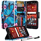 LG ARISTO Case, Phonelicious LG ARISTO Wallet PU Leather Case Premium Pouch ID Credit Card Cover Flip Folio Book Style with Money Slot +Pen (BLUE BUTTERFLY)