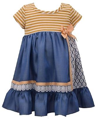 0891e440a Amazon.com: Bonnie Baby Rib Stripe Chambray Dress with Diaper Cover ...