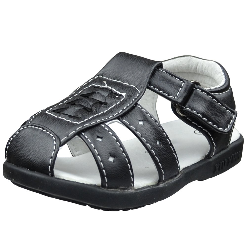 Toddler Flat Sandals Braided Thick T Strap Comfort Dress Shoes Black