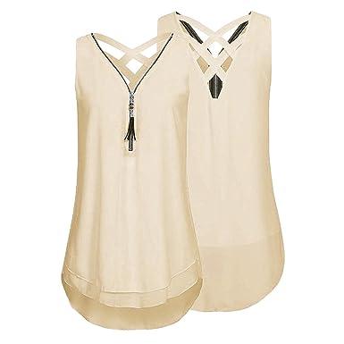 564015e3b61 ccbetter Women s Summer Loose Chiffon Blouse Sleeveless V Neck Zip Front  Back Hollow Out Shirt Tank