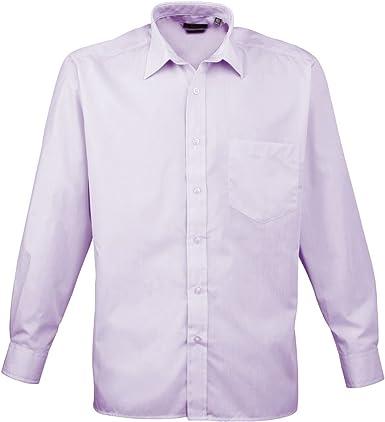 Premier Workwear PR200 para hombre negocio hospitalidad Barwear Manga Larga Popelina camisa Lila tamaño 19: Amazon.es: Ropa y accesorios