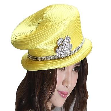 e46eeeb9 June's Young Formal Women Church Hat Satin Hat Women Hat for Winter Yellow