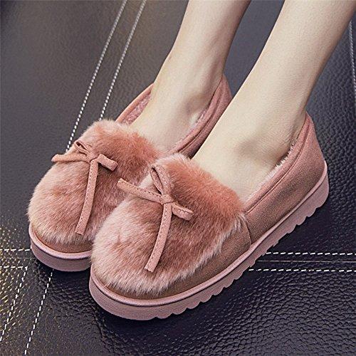 Winter Warme Bogen Tasche Baumwolle Schuhe Dicke Anti-Rutsch-Monat Schuhe Innen Baumwolle Hausschuhe,EIN,37