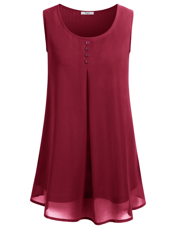 Galleon - Cestyle Sleeveless Chiffon Shirt For Women 1d9f8714c