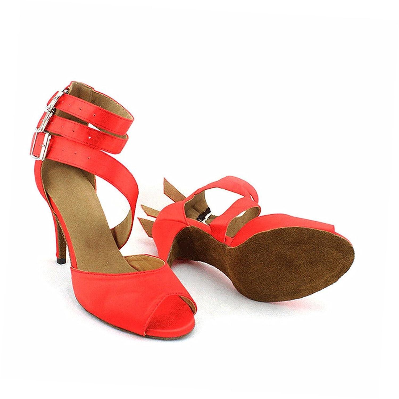 misu - Zapatillas de danza para mujer, color Rojo, talla 43