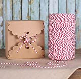 Natural Cotton Bakers Twine, Red and White Packing String, Durable Rope for Gardening, Decoration, Tying Cake and Pastry Boxes, Silverware, DIY Crafts & Gift Wrapping, for Art and Crafts