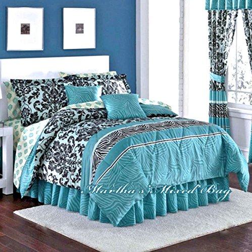 Teal Zebra (ROYAL Animal SAFARI Teal Zebra Stripe & French Damask Prints Comforter Shams Bedskirt & Sheet Set (8pc's QUEEN SIZE Bed In A Bag))