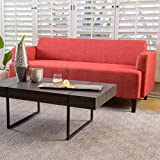 MidCent Three-Seat Fabric Sofa (Red)
