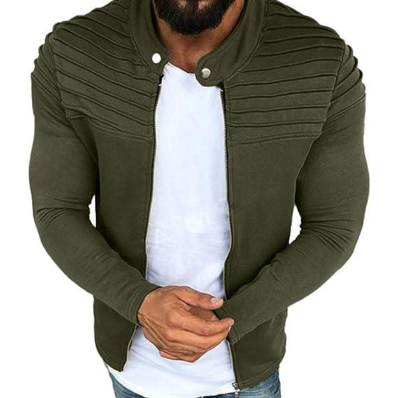Hombres Jacket Invierno Chaqueta,JiaMeng Plisado Slim Stripe Fit Raglan Zipper Escudo de Manga Larga