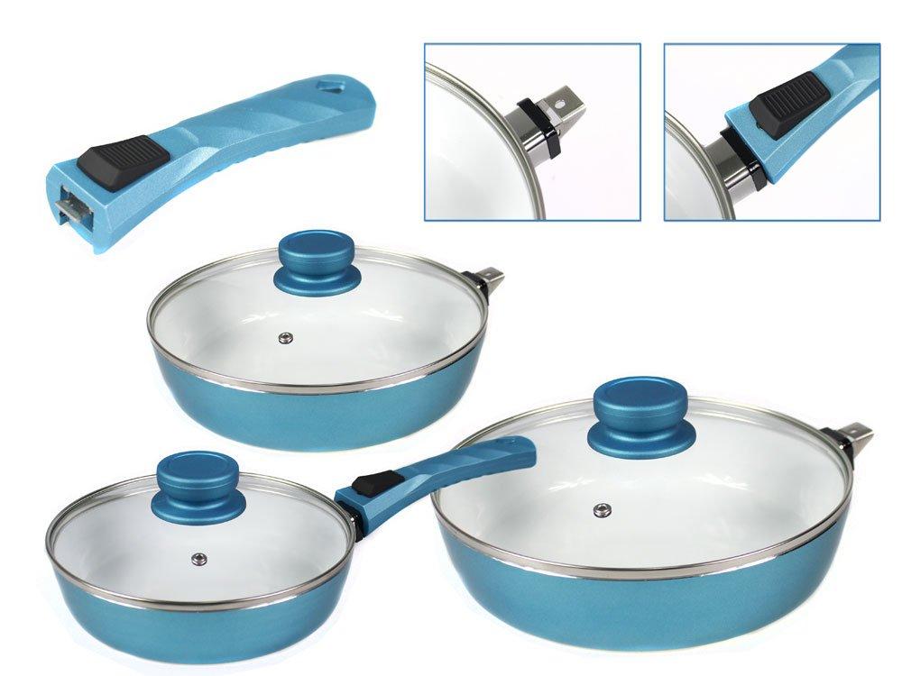 Vetrineinrete/® Set Padelle con manico removibile rivestimento in ceramica 7 pz con coperchi in vetro per fuochi induzione gas vetroceramica P8