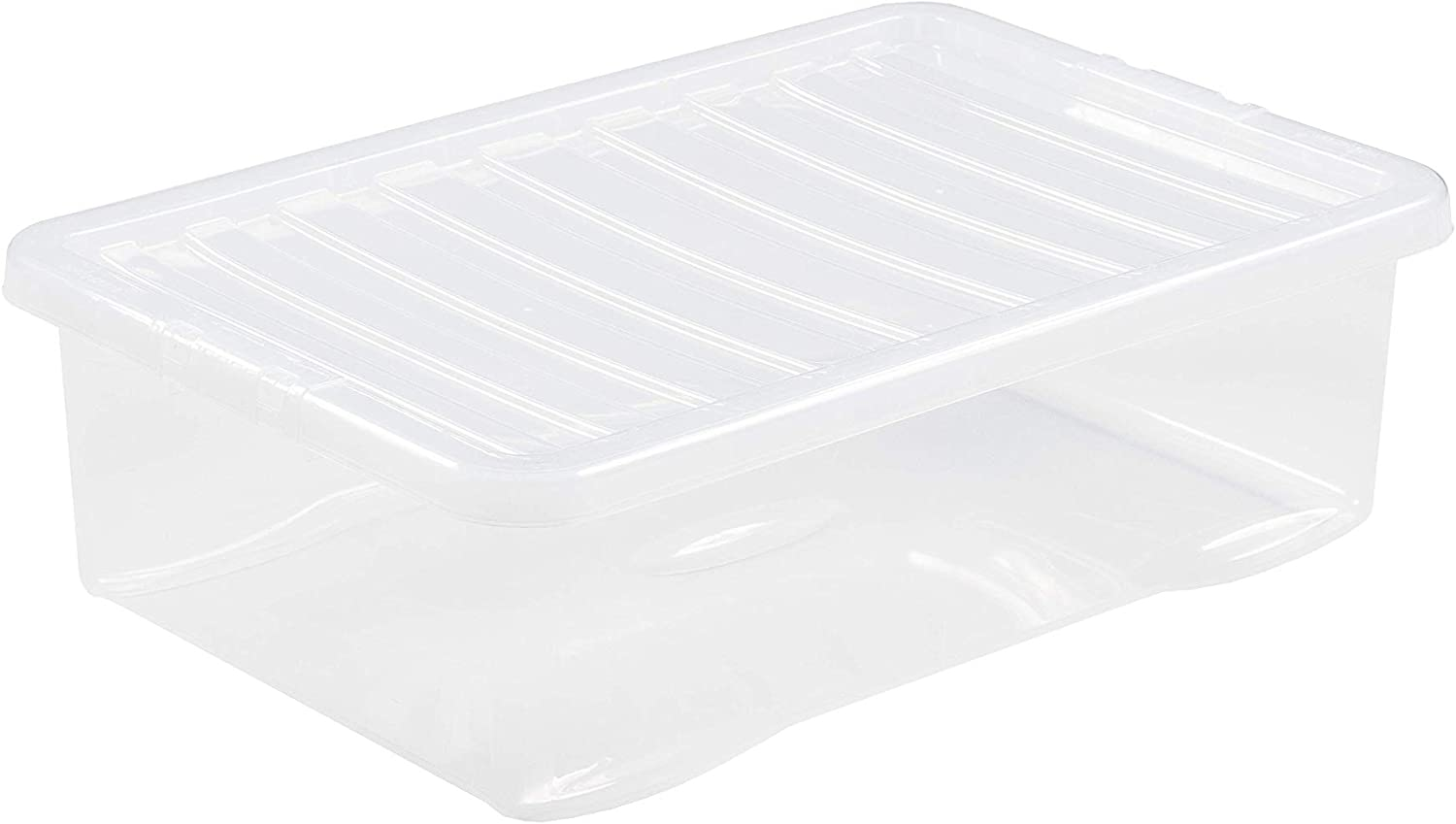 JMS® Large Medium And Small Sizes Crystal Clear Plastic Storage Box Nesting Stackable Design Secure Clip on Lid-Under Bed Wardrobe Shoe Home Garage Office Toy Space Save (1 Pack 32L)