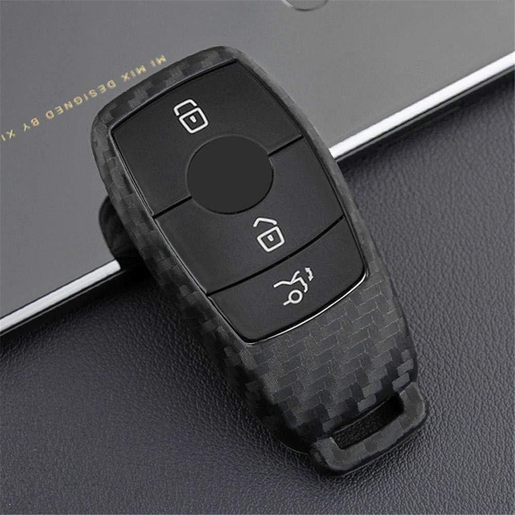 Color Negro MondayUp 1 Funda de Silicona para Llaves de Coche con patr/ón de Fibra de Carbono para Mercedes Benz 2017 Clase E E43 W213 E300 E400 Sedan 2#