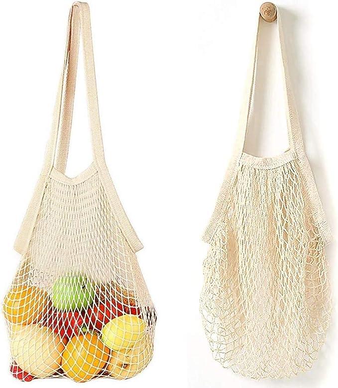 Bolsa de la compra de cuerda, 2 bolsas de malla reutilizables, bolsa portátil de la compra de red de algodón: Amazon.es: Ropa y accesorios