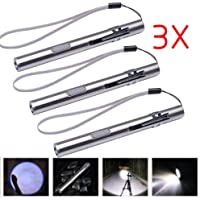 X.Store 3 Pack USB LED Flashlight Stainless Steel Portable Strong Light Mini Pen Light waterproof USB Charging Version, Build In Battery