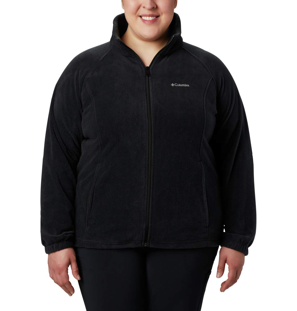 Columbia Womens Benton Springs Full Zip Jacket Black Cherry Petite Medium Soft Fleece with Classic Fit