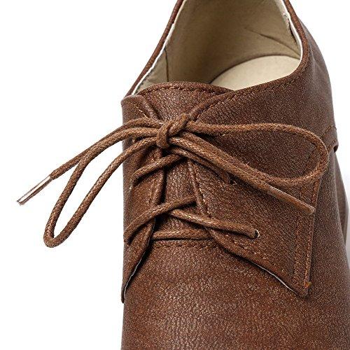 Lacet Femme Correct Légeres Fermeture Chaussures PU Cuir à Unie Brun VogueZone009 Talon d'orteil Couleur TwdxfvaqX