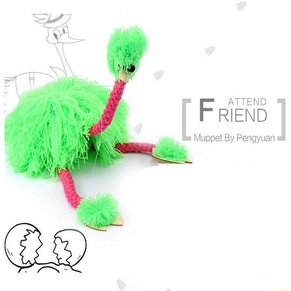 Fluorescent-Green HOCHE Toy-Marionette Ostrich
