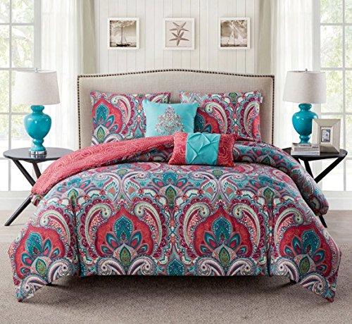 light blue and coral bedding - 2