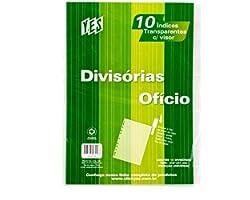 Divisória Ofício, YES, 10INTBCR, com Visor Transparente, 10 divisões Cristal