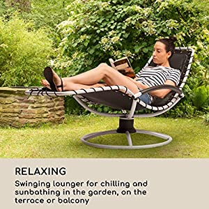 Blumfeldt-The-Chiller--Swing-Lounger--Garden-Lounger--Deck-Chair--77-x-85-x-173-cm--Easy-Care-and-Weatherproof--360--Comfort-Swing-Motion--ComfortMesh--Sturdy-Tubular-Steel--Black
