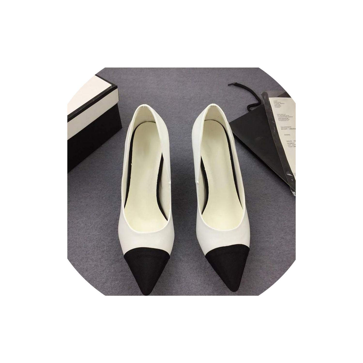 White Lin-House Pointed Toe Slingback High Heels Spell color Wedding Party Women High Heels