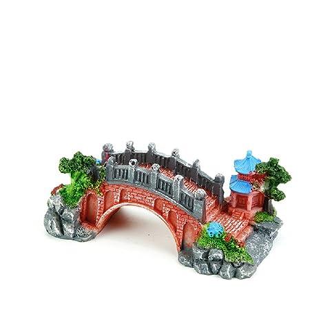 JUZIPI Decoración para Acuario con Puente de Acuario, Torre y Plantas, Decoración para peceras