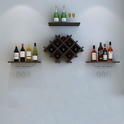 WURE Colgante de Pared de Madera del Estante del Vino Pared Minimalista Moderna de la Bodega