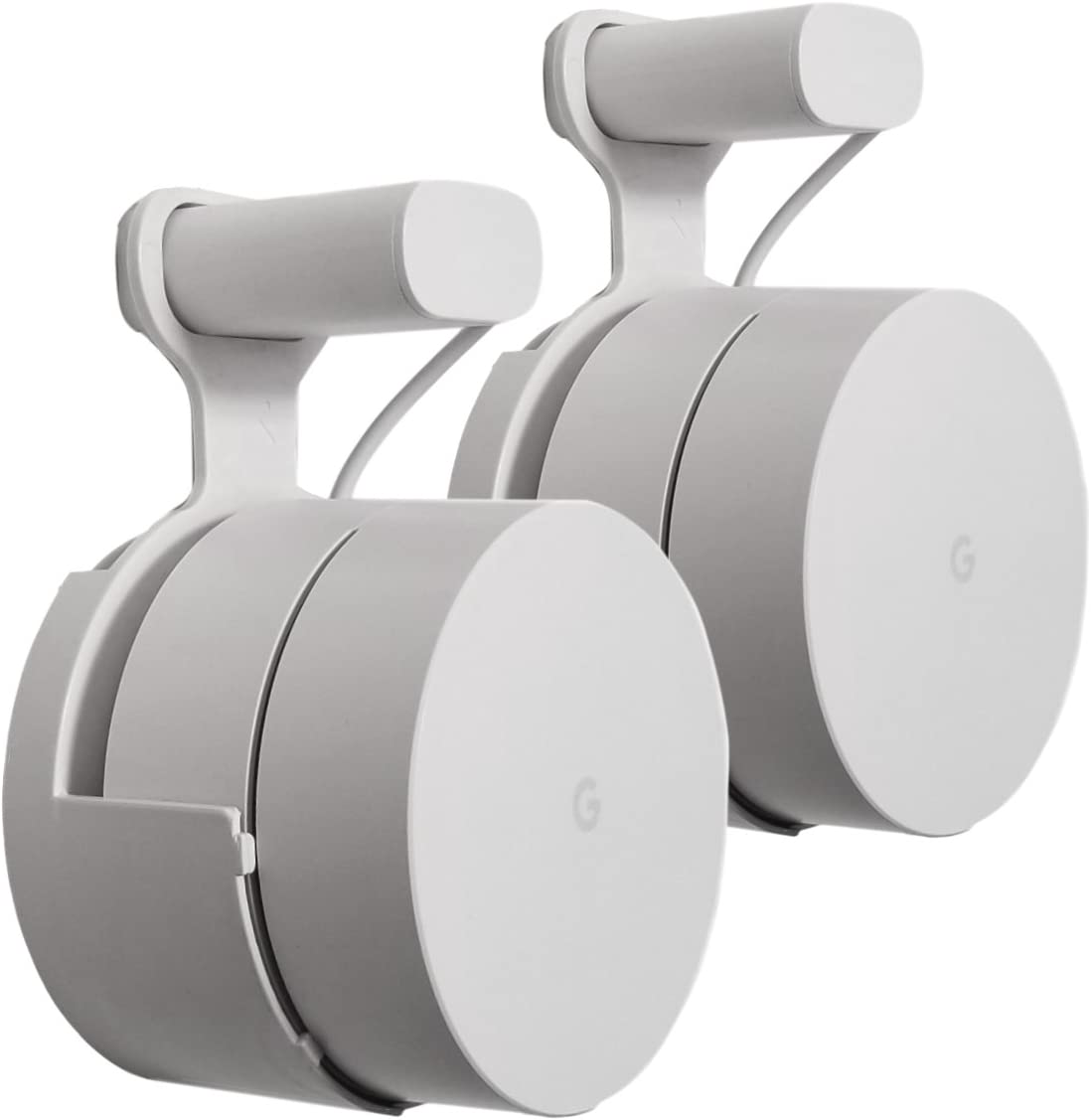Dot Genie Google WiFi Outlet Holder Mount: [Original and Best] USA Made - The Simplest Wall Mount Holder Stand Bracket for Google WiFi Routers and Beacons - No Messy Screws! (2-Pack)