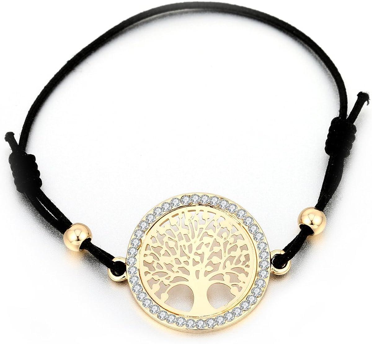 Pulsera de árbol de la vida para mujer, pulsera con colgante celta para niñas, ajustable, color negro, con cristal