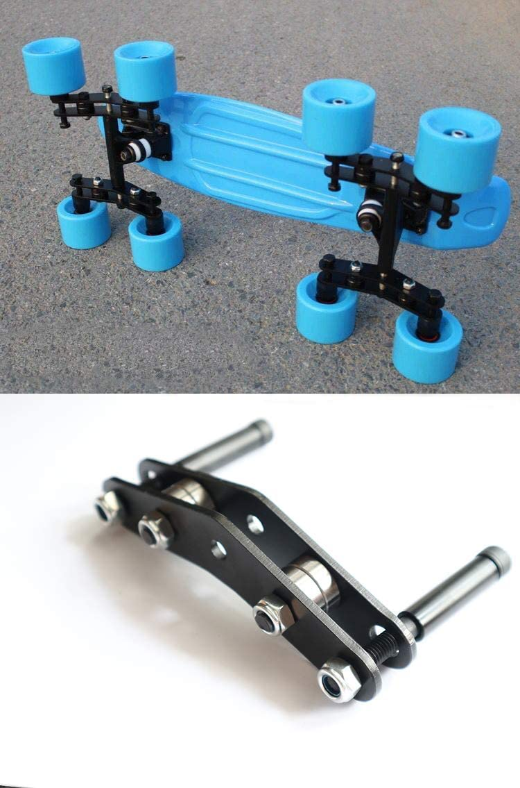 Fabolouz (Set of 2) Tandem Axle Wheel Kit Double Skateboard Wheeled Set for Skateboarding Cruiser Longboard Penny Truck
