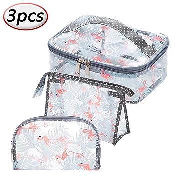 bb4ea4fff267 Amazon.com : PVC Clear Cosmetic Bag Waterproof Flamingos Beauty ...