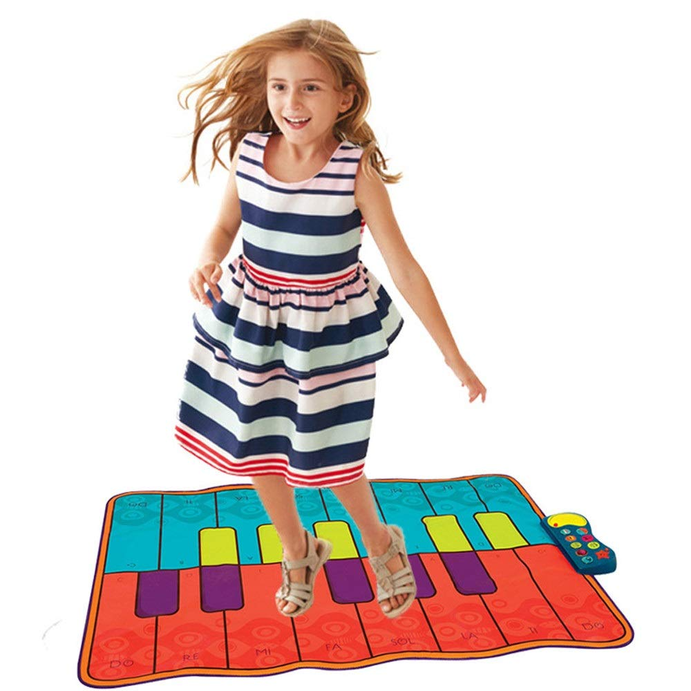 Play Keyboard Mat 54 Inches Musical Keyboard Playmat 16 Keys Battery Operated Foldable Floor Keyboard Piano Dancing Activity Mat With Adjustable Vol Step And Play Instrument Toys For Toddlers Kids Dif by GAOCAN-gq (Image #1)