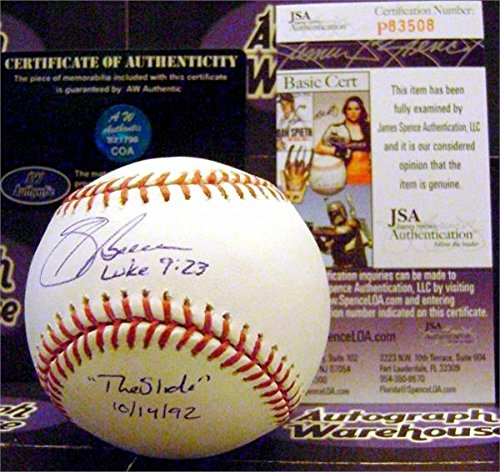 Autograph Warehouse 245384 Sid Bream Autographed Baseball Inscribed The Slide 1044; 14 & 92 JSA Authentication from Autograph Warehouse