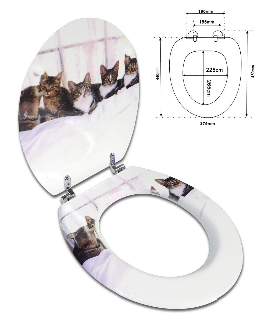 Acquario Vetrineinrete/® Copriwater universale in legno MDF serigrafato tavoletta da bagno wc con stampa cerniere in acciaio inox resistente 52978 D63