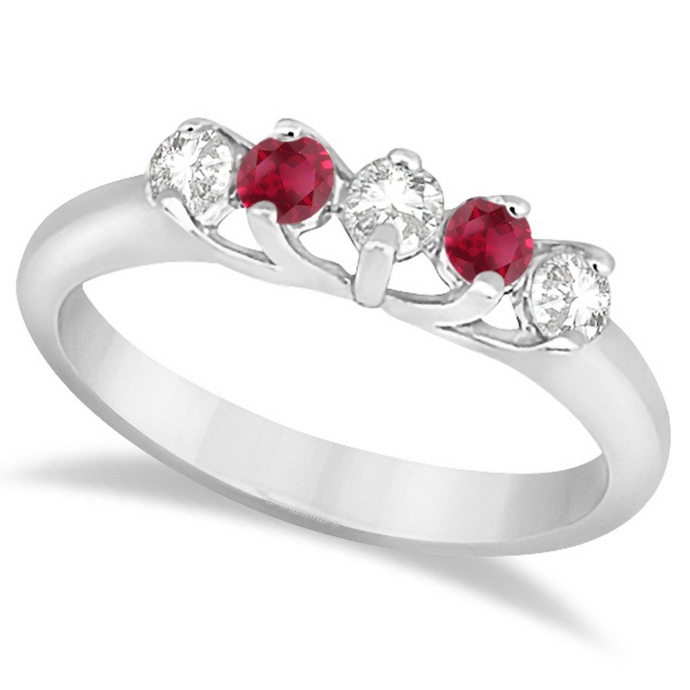 Amazon 14k Gold Five Stone Diamond And Ruby Wedding Ring Anniversary Band For Women 060ct Jewelry: Ruby Wedding Anniversary Bands At Reisefeber.org