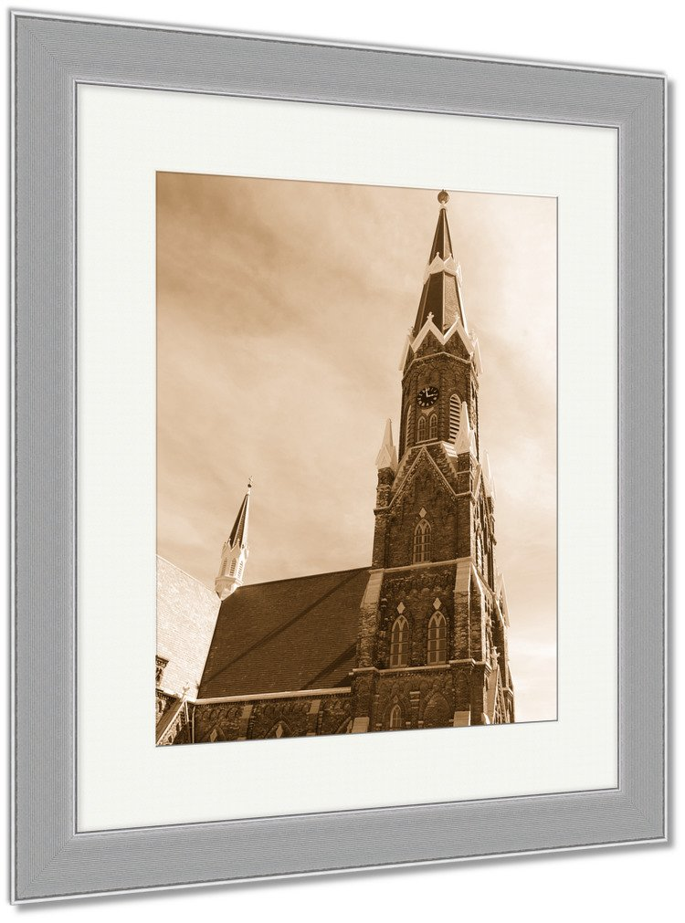 Ashley Framed Prints Clock Tower And Spire Of Historic Church, Wall Art Home Decoration, Sepia, 35x30 (frame size), Silver Frame, AG5448874