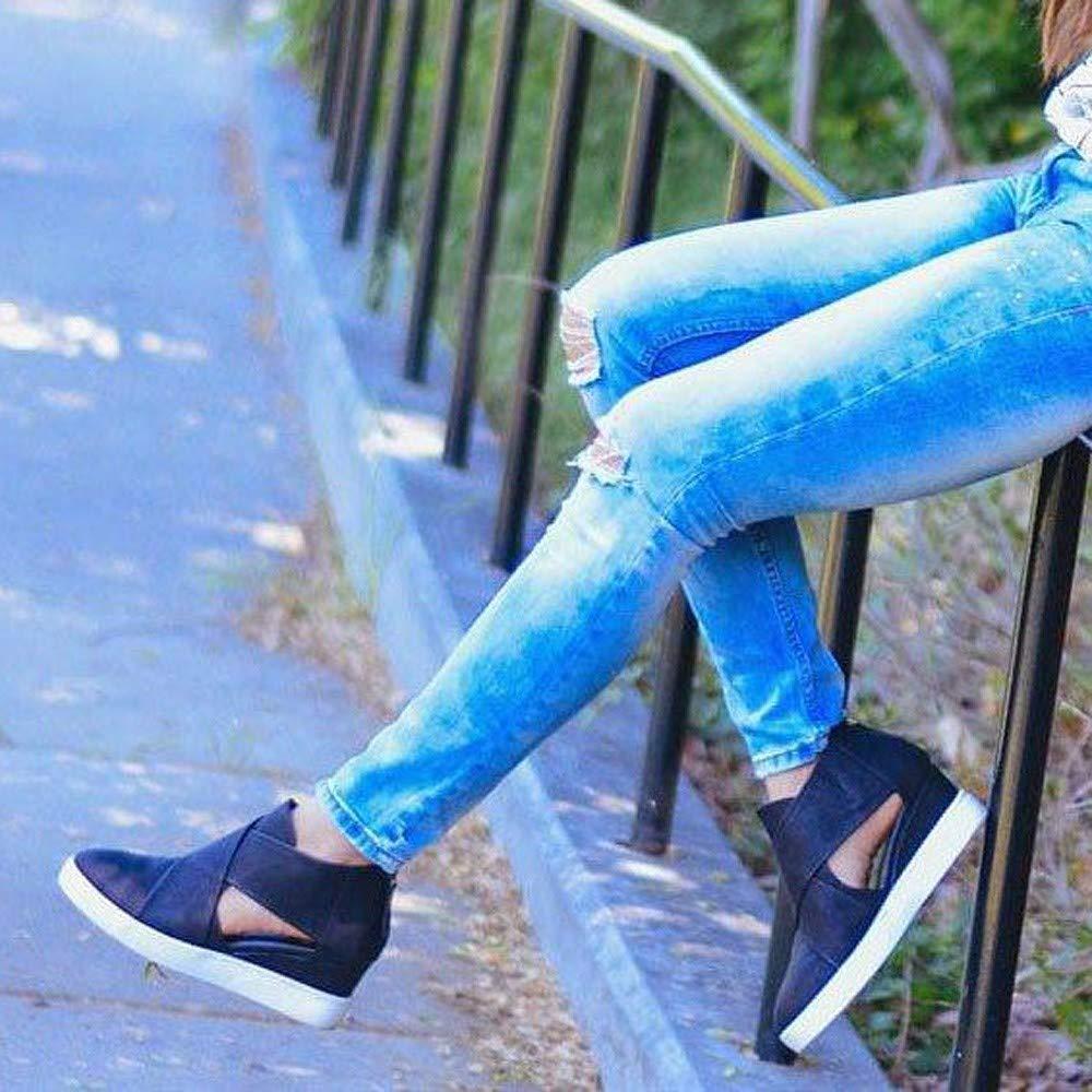 Kauneus  Women's Concise Criss-Cross Cut-Out Wedge Sneakers Comfortable Back Zipper Shoes Black by Kauneus Fashion Shoes (Image #6)